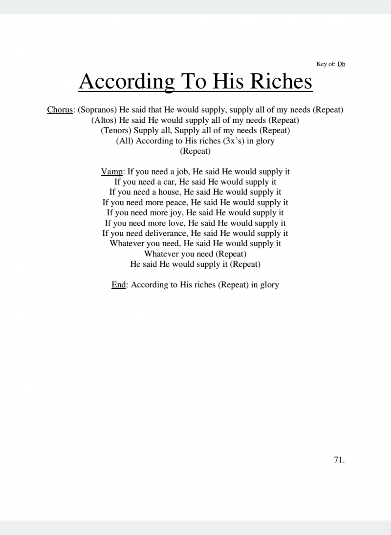 According to His Riches