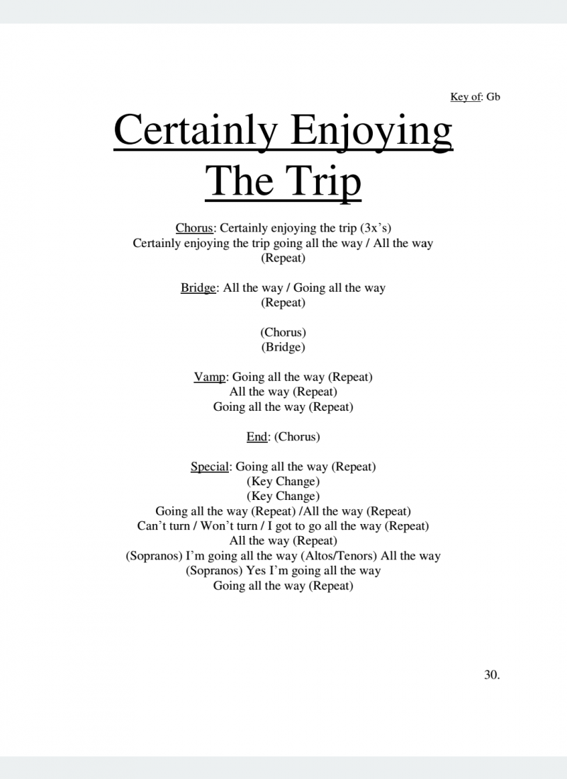 Certainly Enjoying The Trip Lyrics