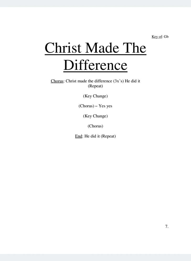 Christ Made The Difference Lyrics