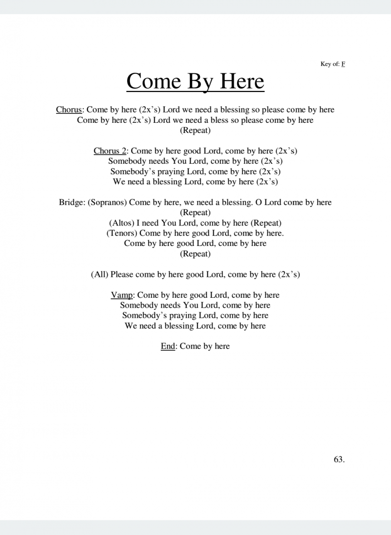 Come By Here Lyrics