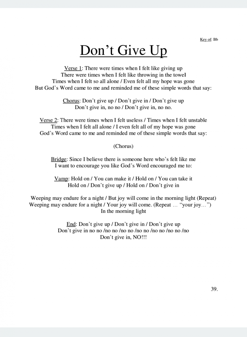 Don't Give Up Lyrics