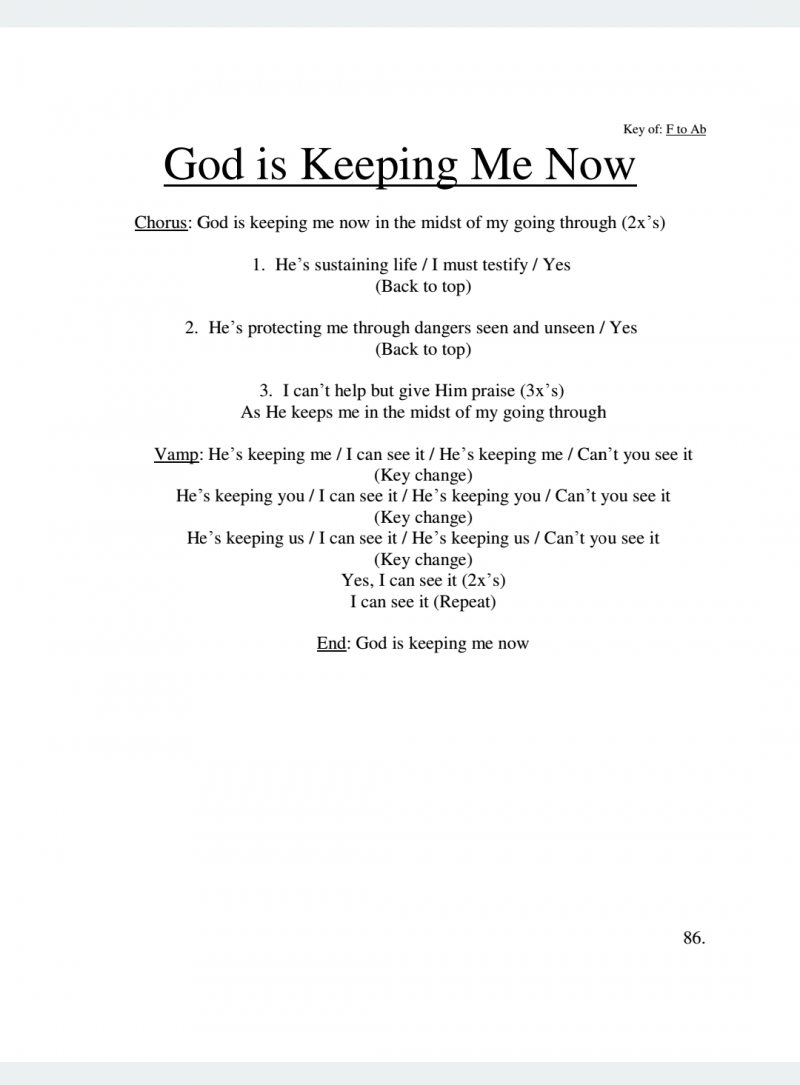 God Is Keeping Me Now Lyrics