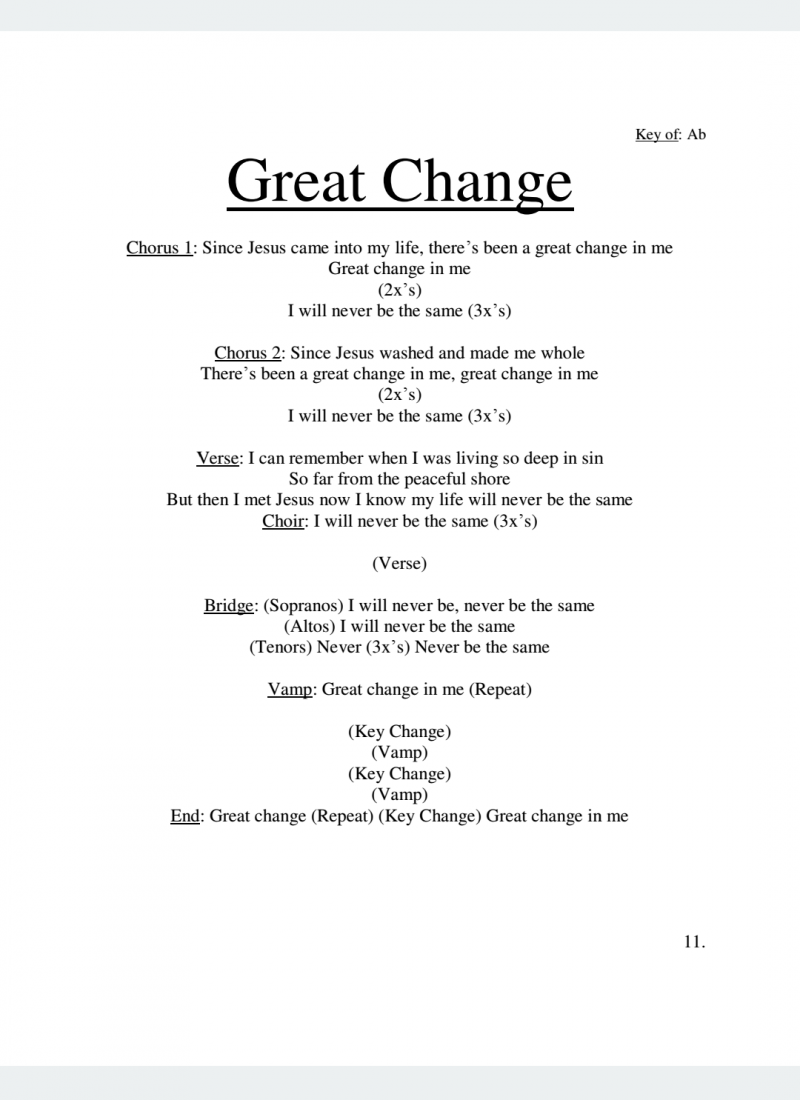 Great Change Lyrics