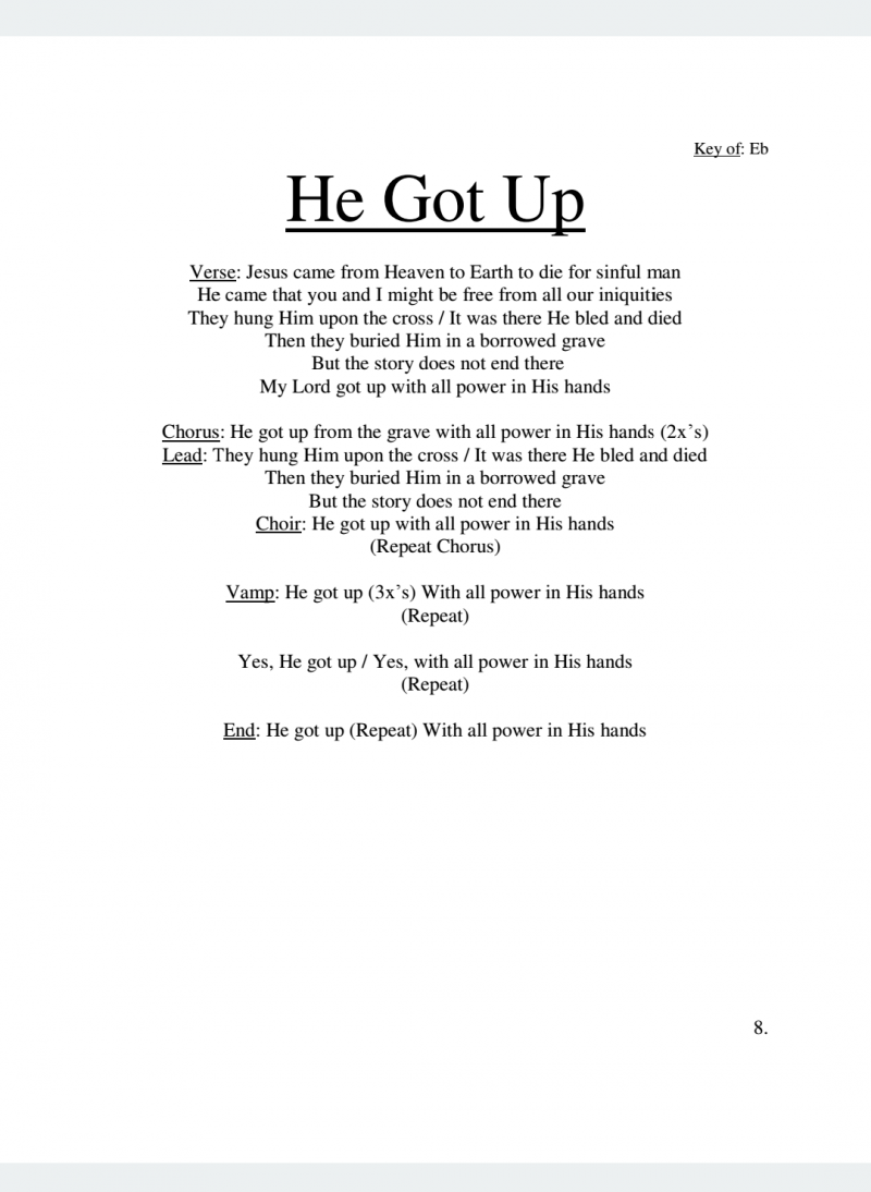He Got Up Lyrics