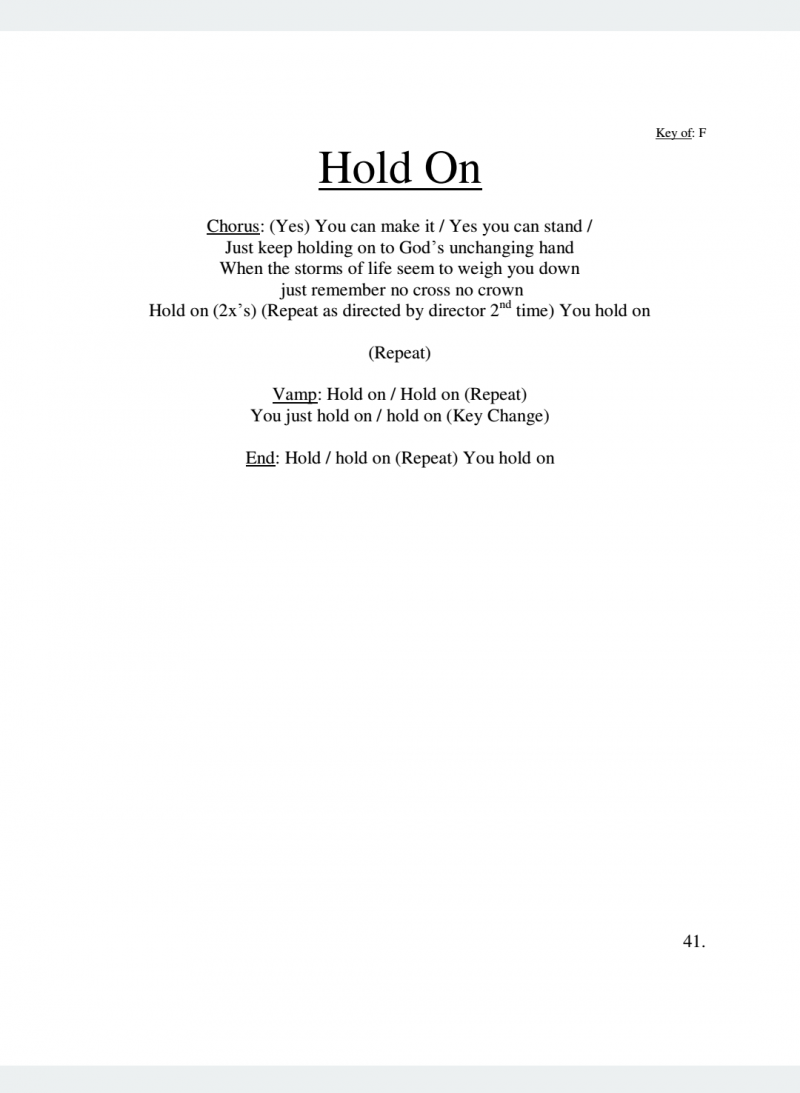 Hold On Lyrics
