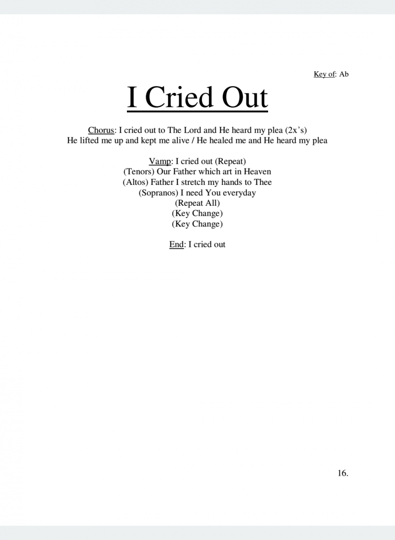 I Cried Out Lyrics