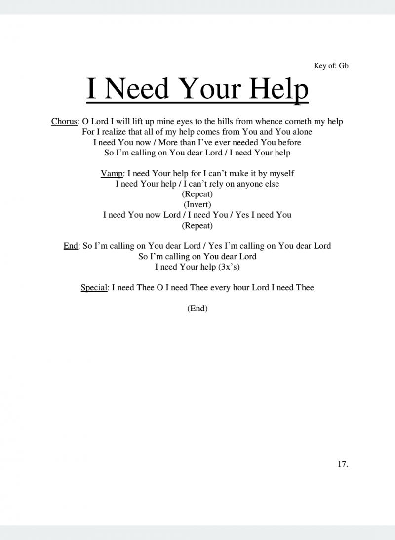 I Need Your Help Lyrics