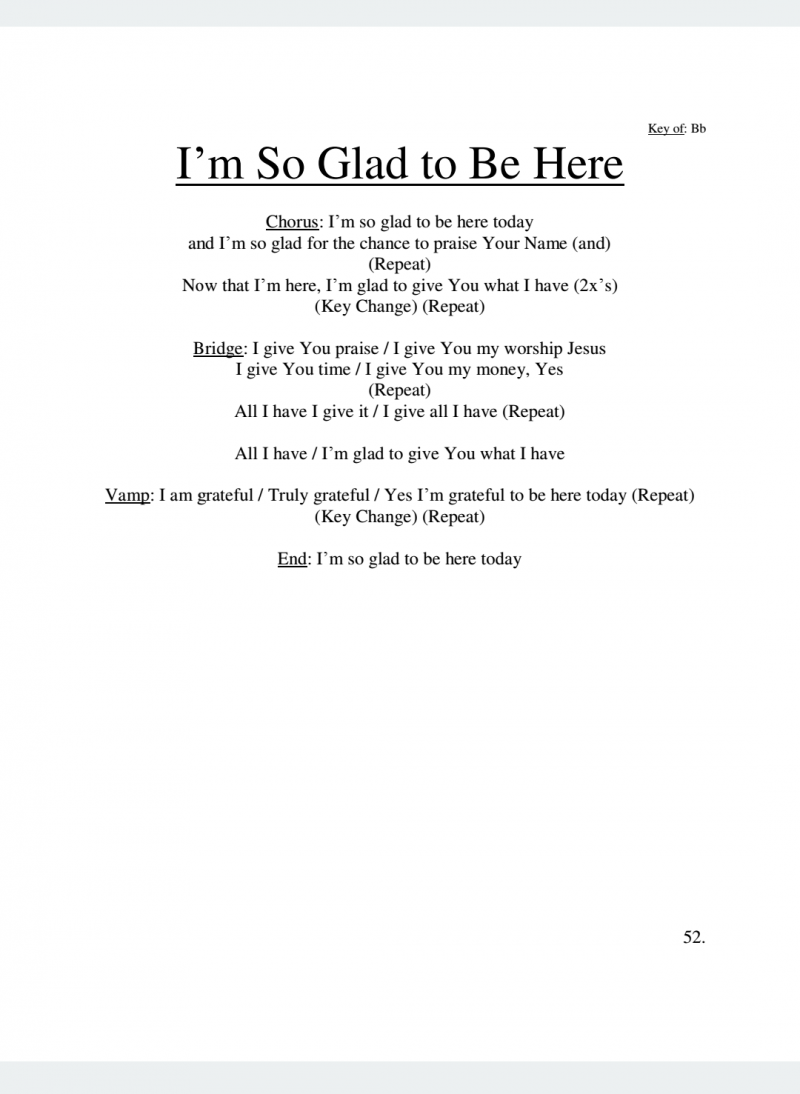 I'm So Glad to Be Here Lyrics