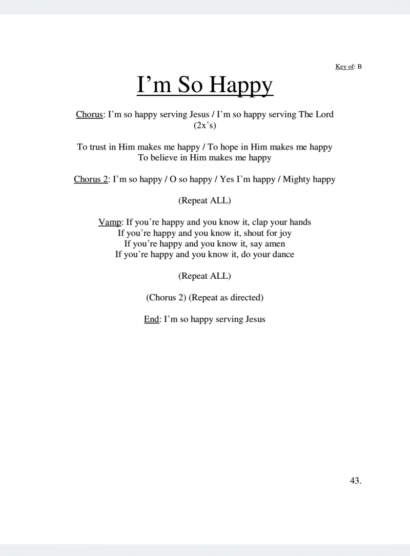 I'm So Happy Lyrics