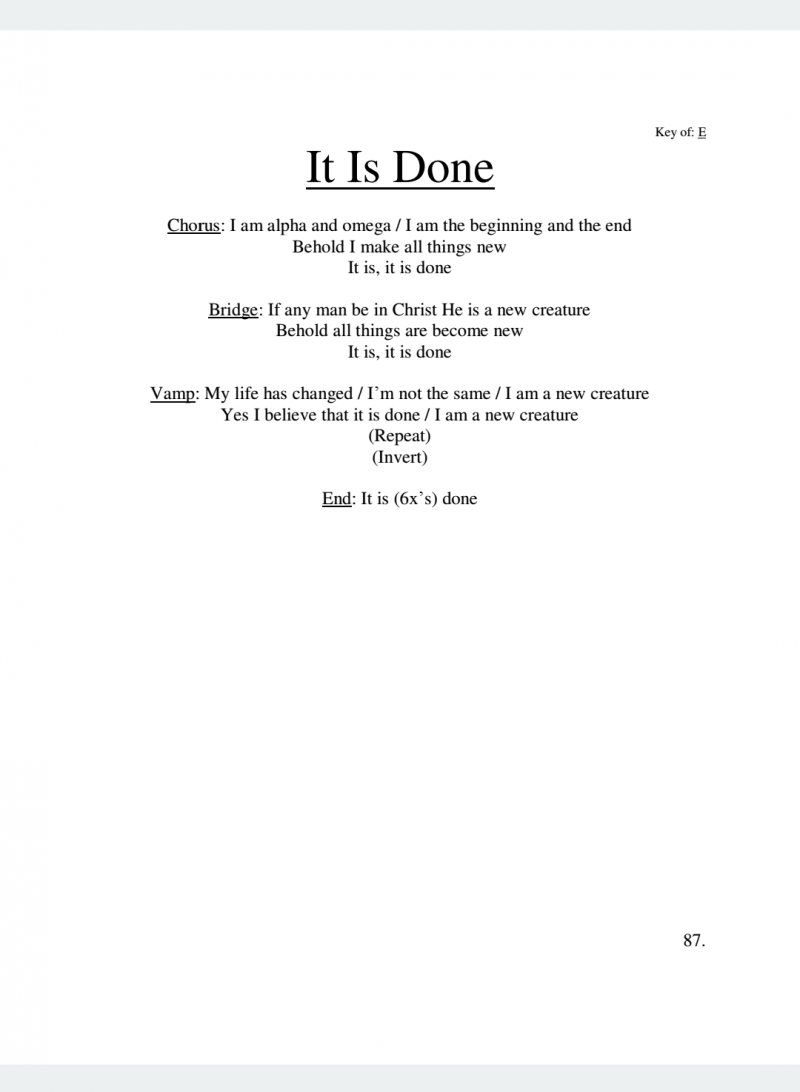 It is Done Lyrics