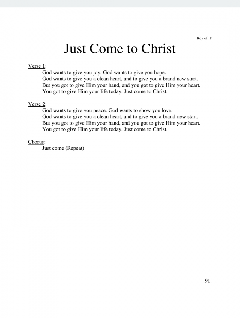 Just Come to Christ