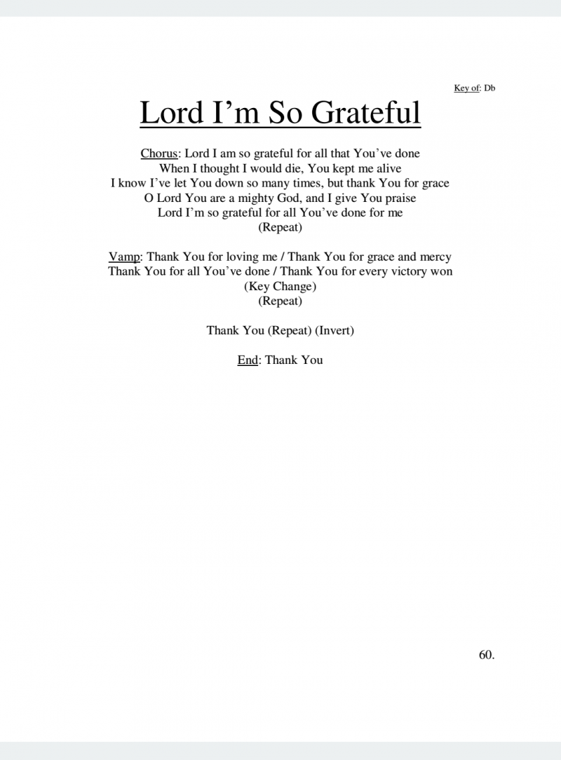 Lord I'm So Grateful Lyrics