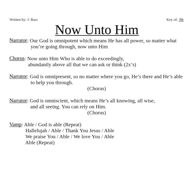 Now Unto Him Lyrics
