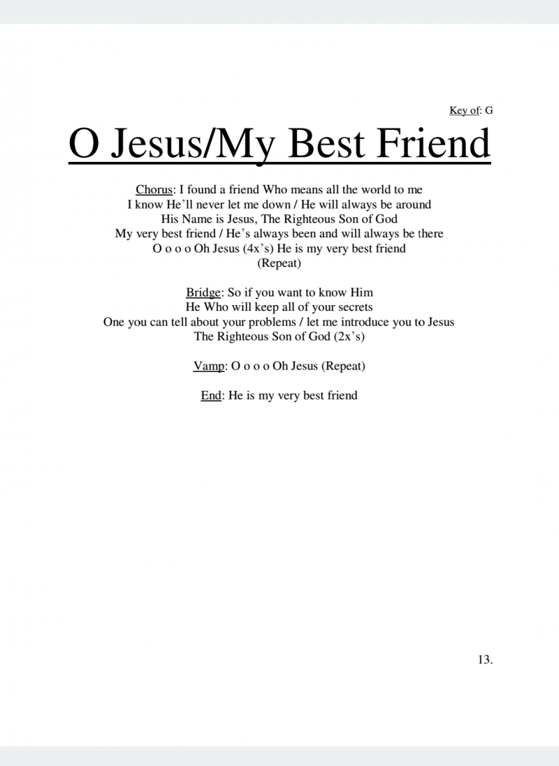 O Jesus/My Best Friend Lyrics
