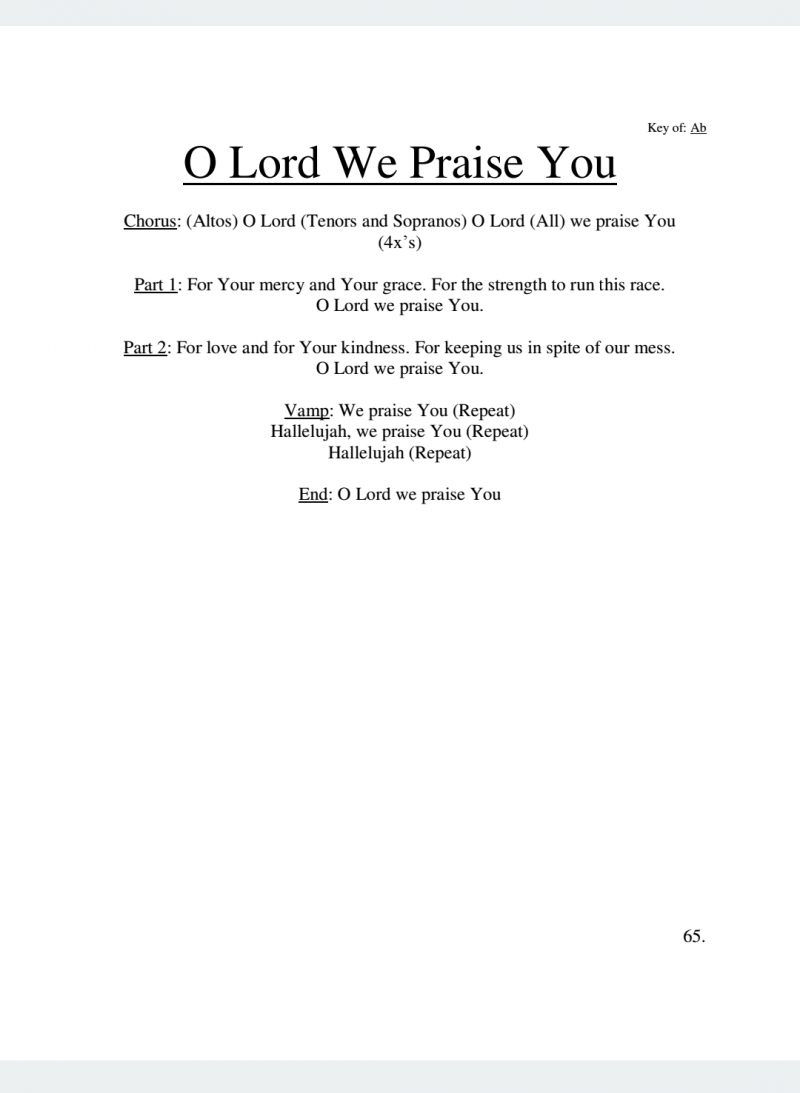 O Lord We Praise You Lyrics