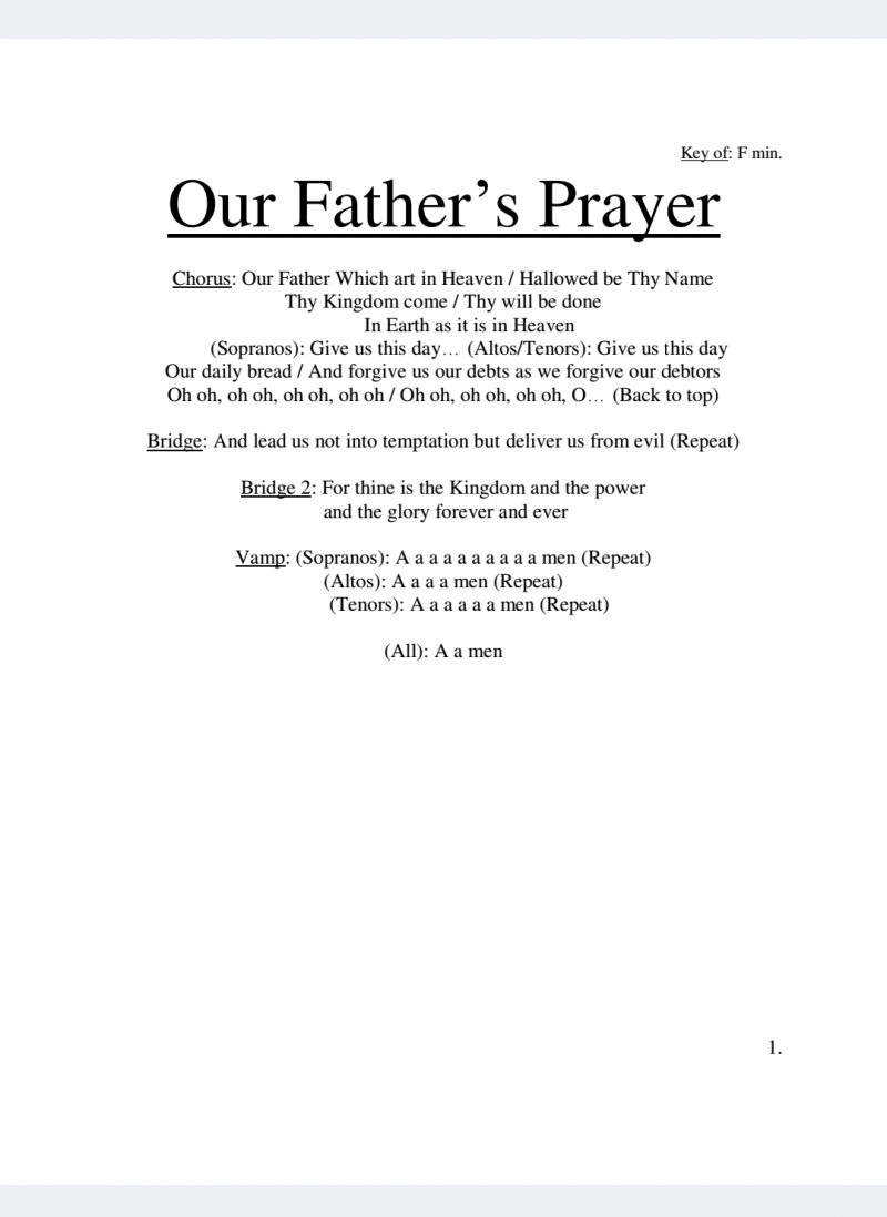 Our Father's Prayer Lyrics