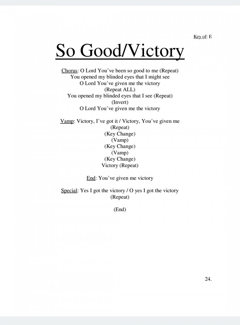 So Good/Victory Lyrics