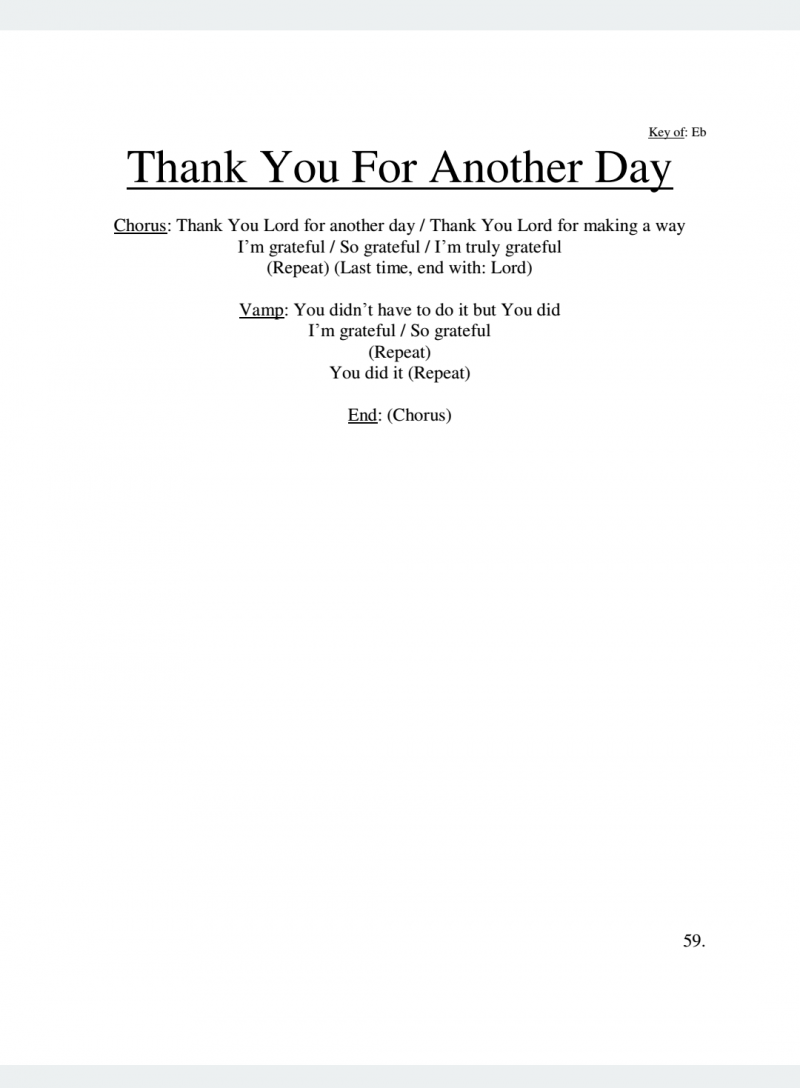 Thank You For Another Day Lyrics