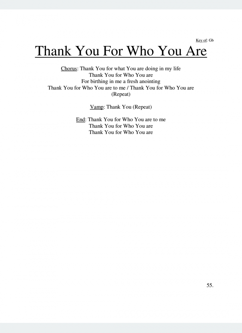 Thank You For Who You Are Lyrics