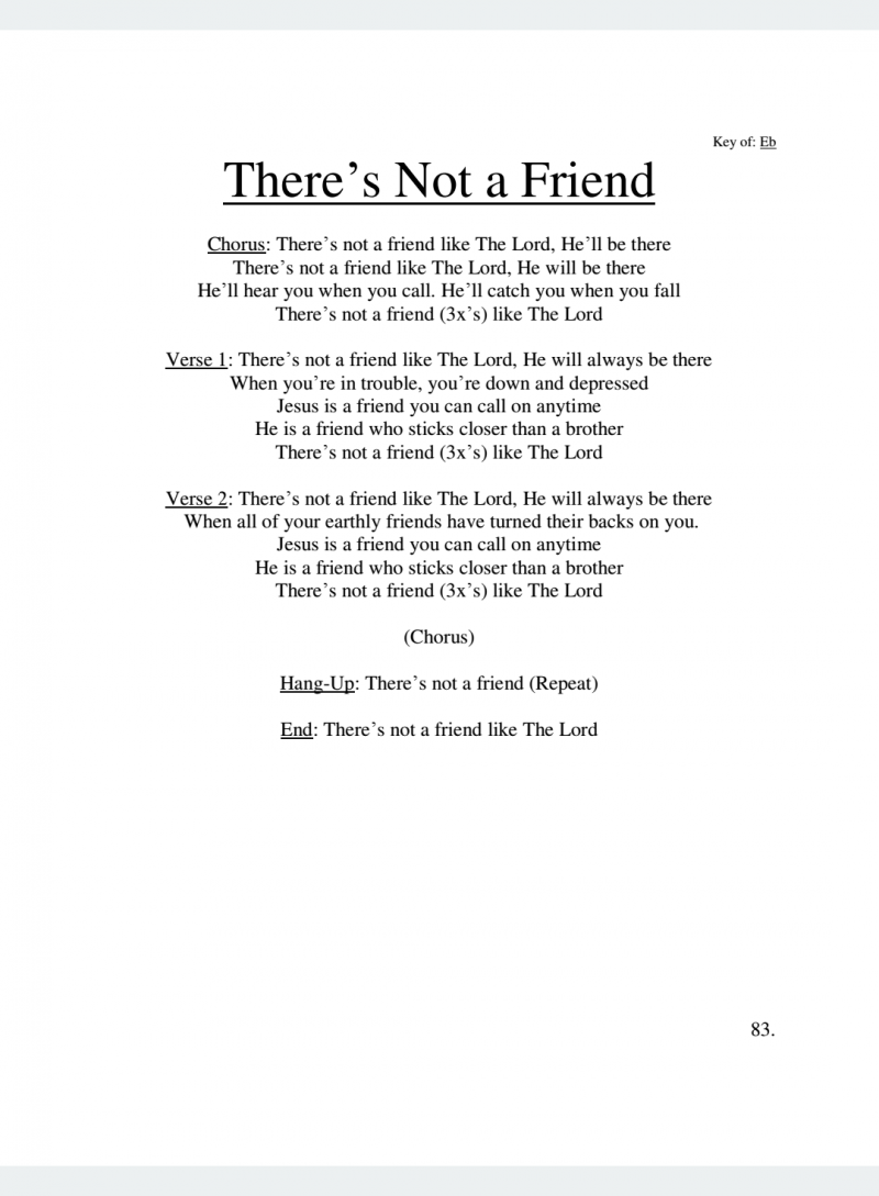 There's Not a Friend Lyrics